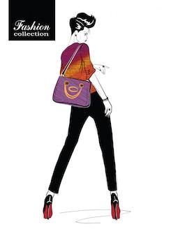 흰색 배경에 스케치 스타일에서 패션 소녀.
