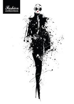 Девушка моды в стиле эскиза. ретро плакат. иллюстрация гранж.