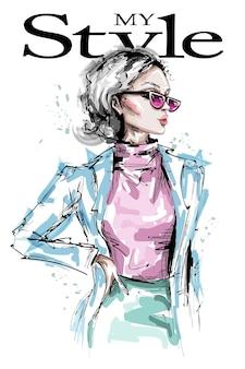 선글라스 그림에서 패션 소녀