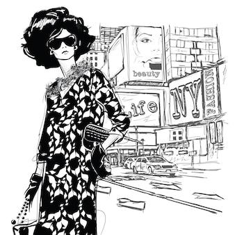 通りの背景にファッションの女の子。スケッチ スタイル。