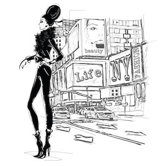 거리 배경에 패션 소녀입니다. 스케치 스타일.