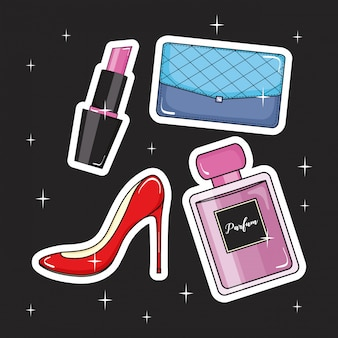 Fashion girl set icons pop art style