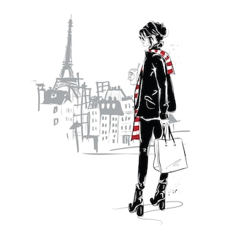 Fashion girl in sketch style in paris.   illustration.