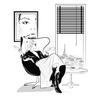 The fashion girl in sketch style relaxes with a cup of tea.