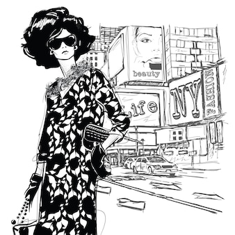 Fashion girl on a street background. sketch style.