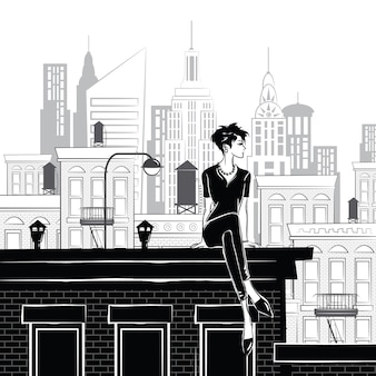 Fashion girl in style sketch in new york