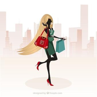 長い髪のファッションの女の子