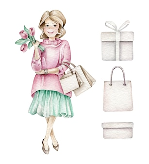 Fashion girl with shopping bags and flowers
