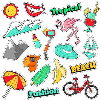 Fashion girls badges, patches, stickers - bicycle banana flamingo lipstick in comic style.  doodle