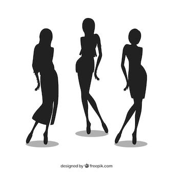 ファッションの女の子のシルエット