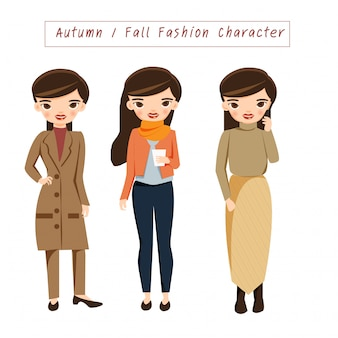 Fashion girls in trendy autumn outfits.