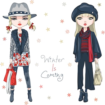 Fashion girls in winter clothes