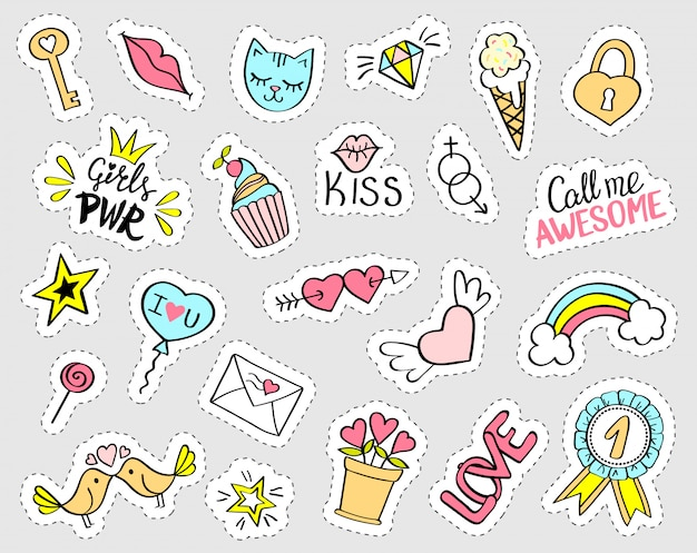 Fashion girly stickers set