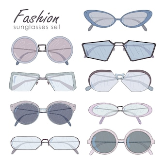 Fashion glasses set . hand drawn sunglasses collection vintage, modern and futuristic