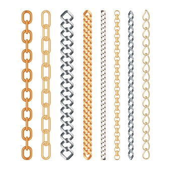 Fashion golden and silver chain set isolated
