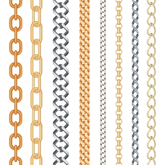 Fashion golden and silver seamless chain set isolated