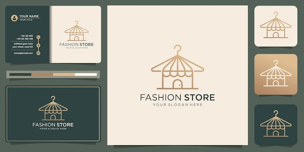 Fashion hanger logo with store shop design linear stylized concept and business card template.