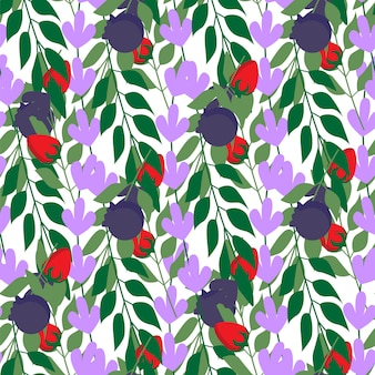 Fashion herbal leaves and strawberries seamless pattern