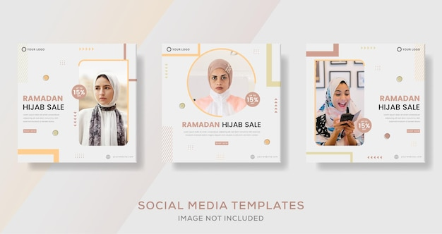 Fashion hijab trends for ramadan kareem banner template