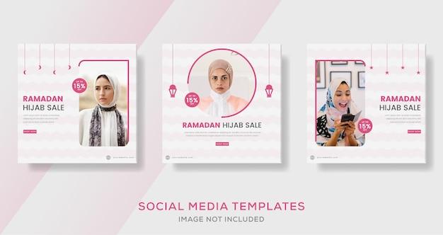 Fashion hijab woman muslim for ramadan kareem sale banner template post