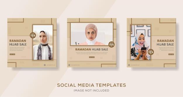 Fashion hijab woman muslim for ramadan mubarak sale banner template post