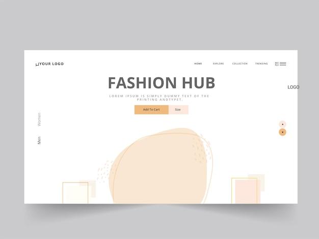 Дизайн целевой страницы или веб-шаблона fashion hub в белом цвете.
