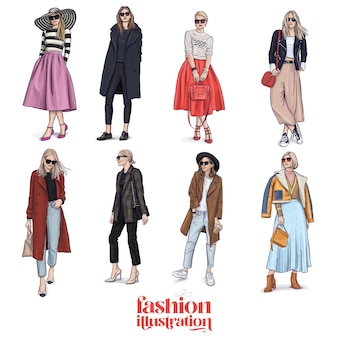 Fashion illustration girl wearing stylish outfit having a good look