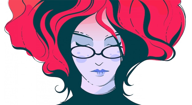 Fashion illustration of a girl with glasses with billowing red hair