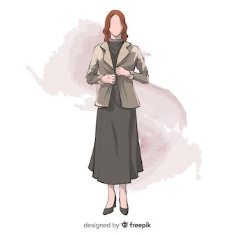 Fashion illustration hand drawn design