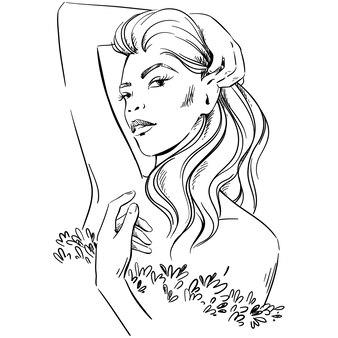 ファッションイラスト。ロマンチックでエレガントなドレスを着ている女性の肖像画