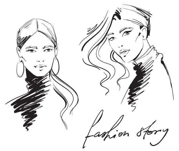 ファッションイラスト。タートルネックを着ている女性の肖像画