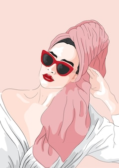 Fashion illustration. vector girl with towel in hair