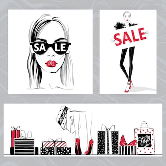 Fashion illustration. vector stylish girls.
