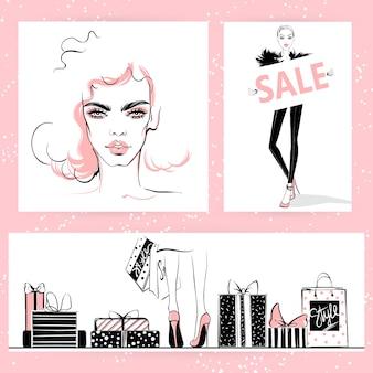 Fashion illustration. vector stylish girls