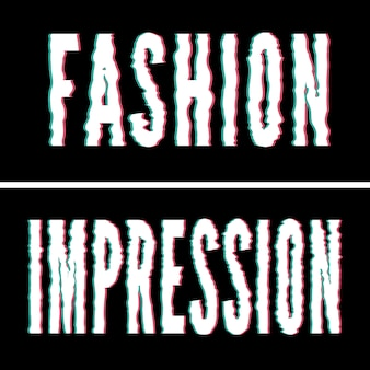Fashion impression slogan, holographic and glitch typography, tee shirt graphic, printed design.