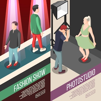 Fashion industry isometric banners