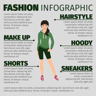 셔츠에 여자와 패션 Infographic 템플릿 프리미엄 벡터