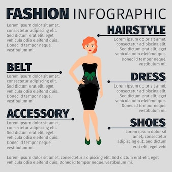 Fashion infographic template with redhead woman