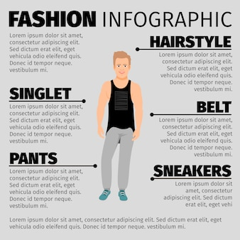 Fashion infographic template with strong guy