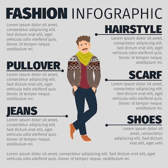 Fashion infographic template with young artist man