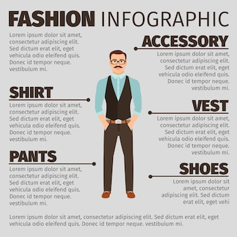 Fashion infographic with hipster style man
