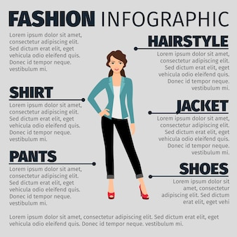 Fashion infographic with young business girl