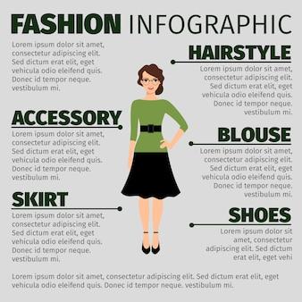 젊은 여성 교사와 패션 infographic