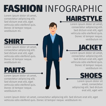 Fashion infographic with young smiling manager