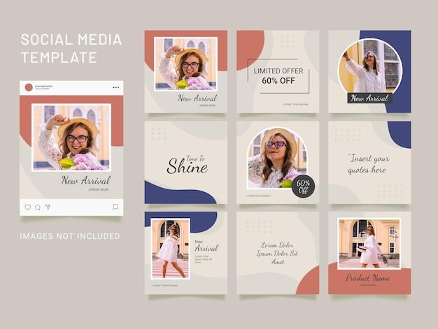 패션 instagram 피드 템플릿. 소셜 미디어 퍼즐