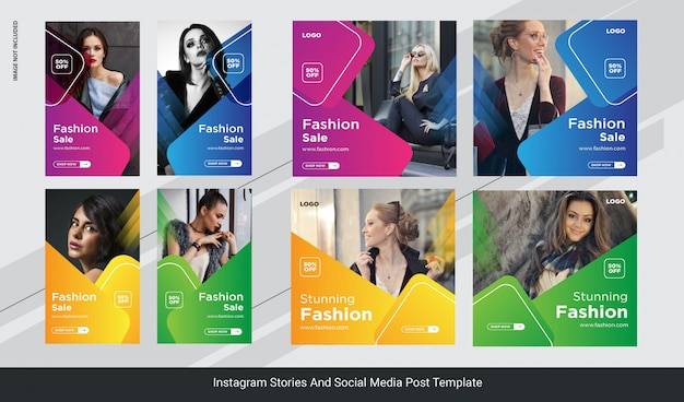 Fashion instagram post stories banner, social media post template