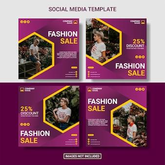 Fashion instagram post template set