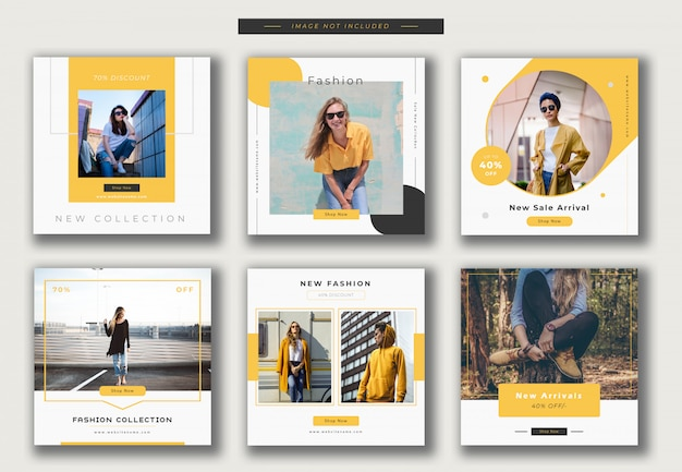 Fashion instagram post template or square banner collection