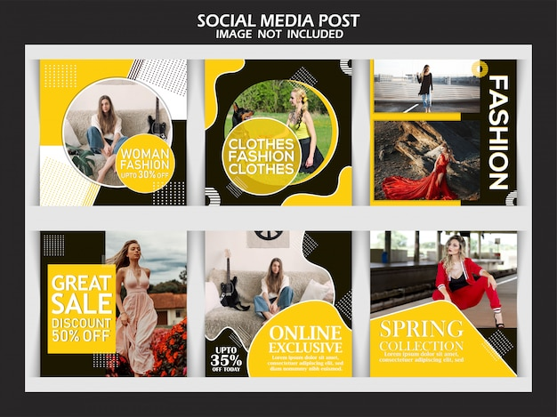 Fashion instagram post template story