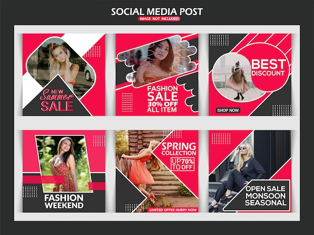 Fashion instagram web banner set